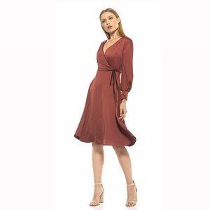 NEW 🏷 ALEXIA Long Sleeve Faux Wrap Rust Dress
